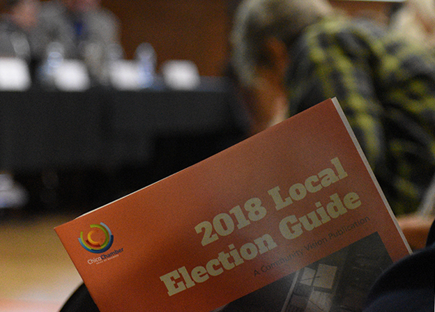 Chico voters packed the Chico Area Recreation and Development Community Center Wednesday to hear from eight city council candidates on why they're qualified to serve the Chico community.