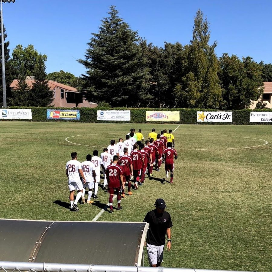 Chico State and Cal State Dominguez Hills march to the center of the pitch prior to their game on Sunday at University Stadium. Photo credit: Connor Mcpherson
