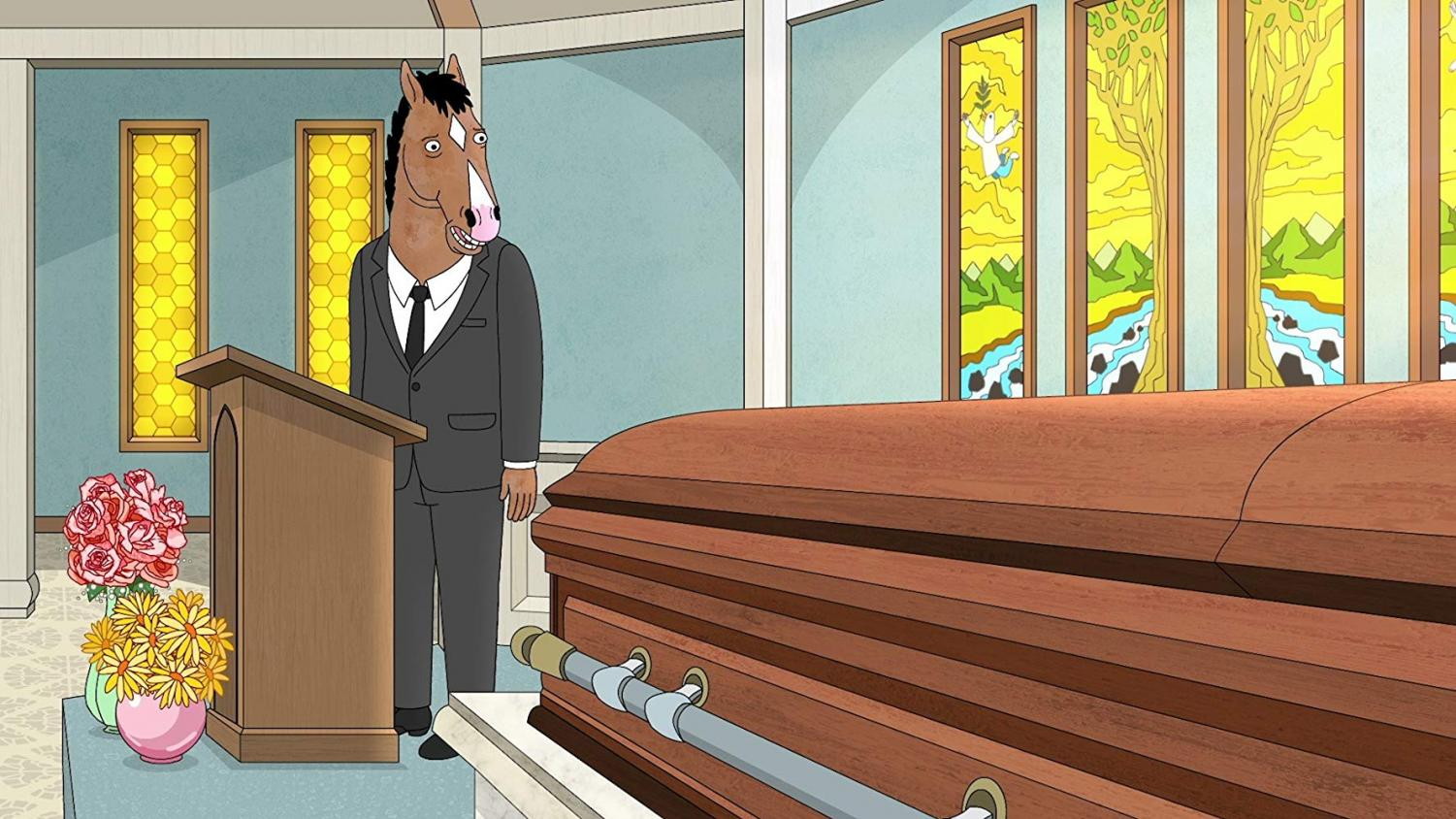Bojack gives a eulogy at another character's funeral. Image courtesy of Netflix.