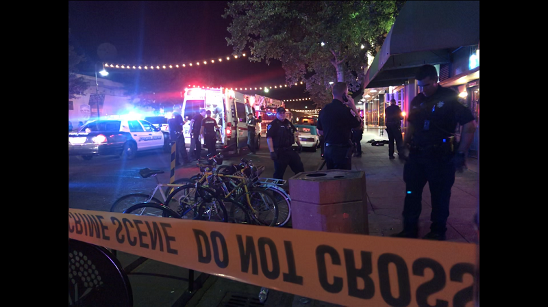 Paramedics prepare for transport as Chico Police investigate the scene. Photo credit: Dan Christian