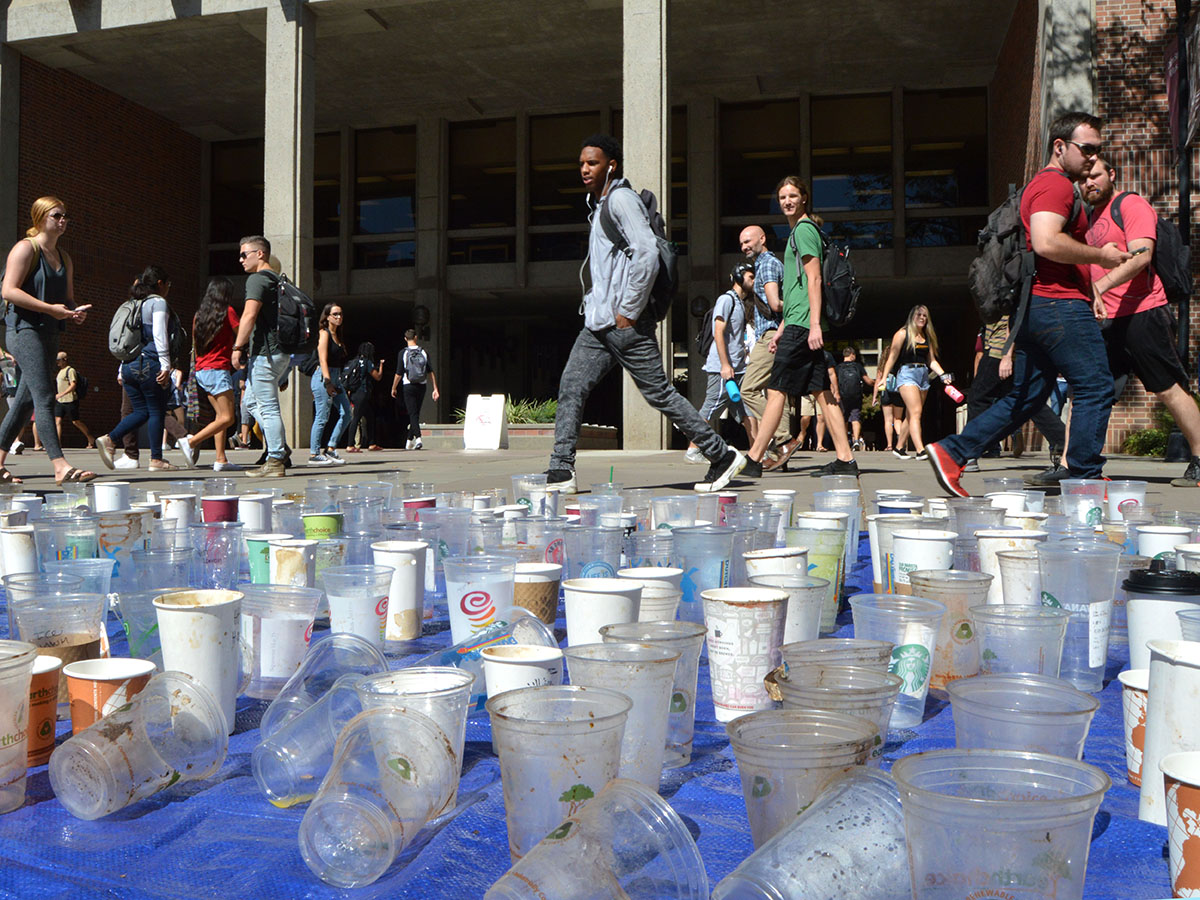 While heading to their classes, students cast curious glances at the dozens of plastic cups laid out. Photo credit: Olyvia Simpson