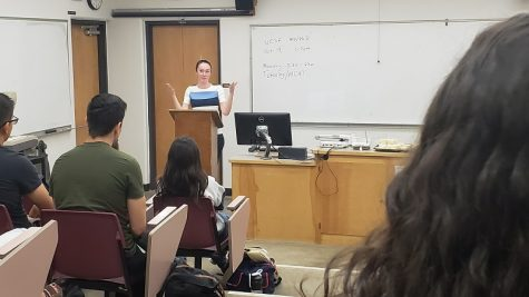 Dr. Anna Robertson, from Enloe Medical Center, answered questions, Monday from the Chico State Pre-Medical Association Photo credit: Josh Cozine