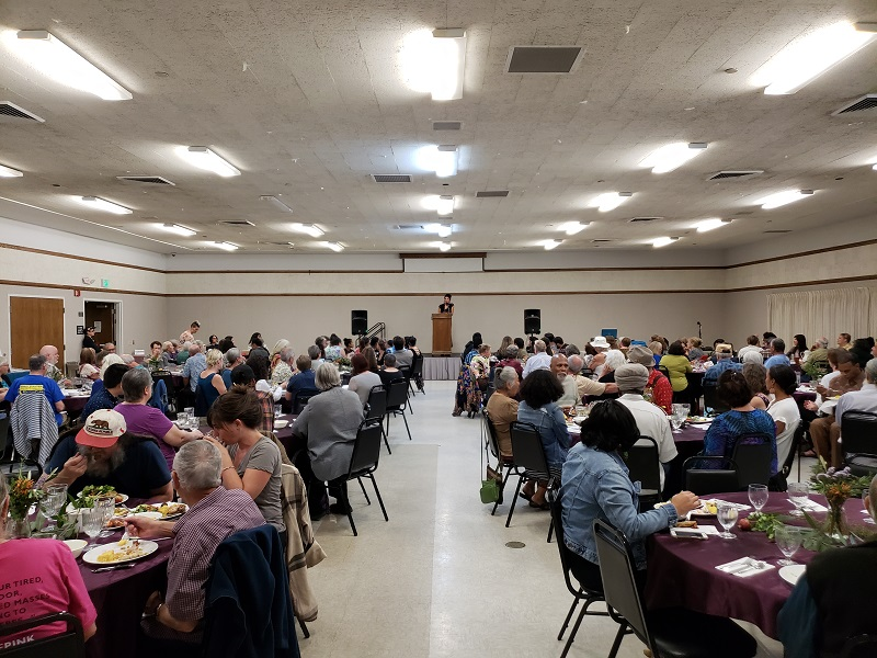 Around 250 people attended the Chico peace and Justice Center's 38th annual fundraising dinner honoring indigenous people. Photo credit: Josh Cozine