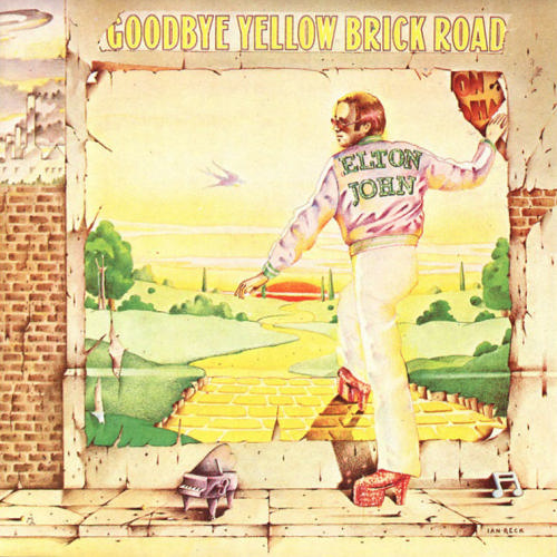 The cover artwork of Elton Johns seventh album, Goodbye Yellow Brick Road. Image from MCA.