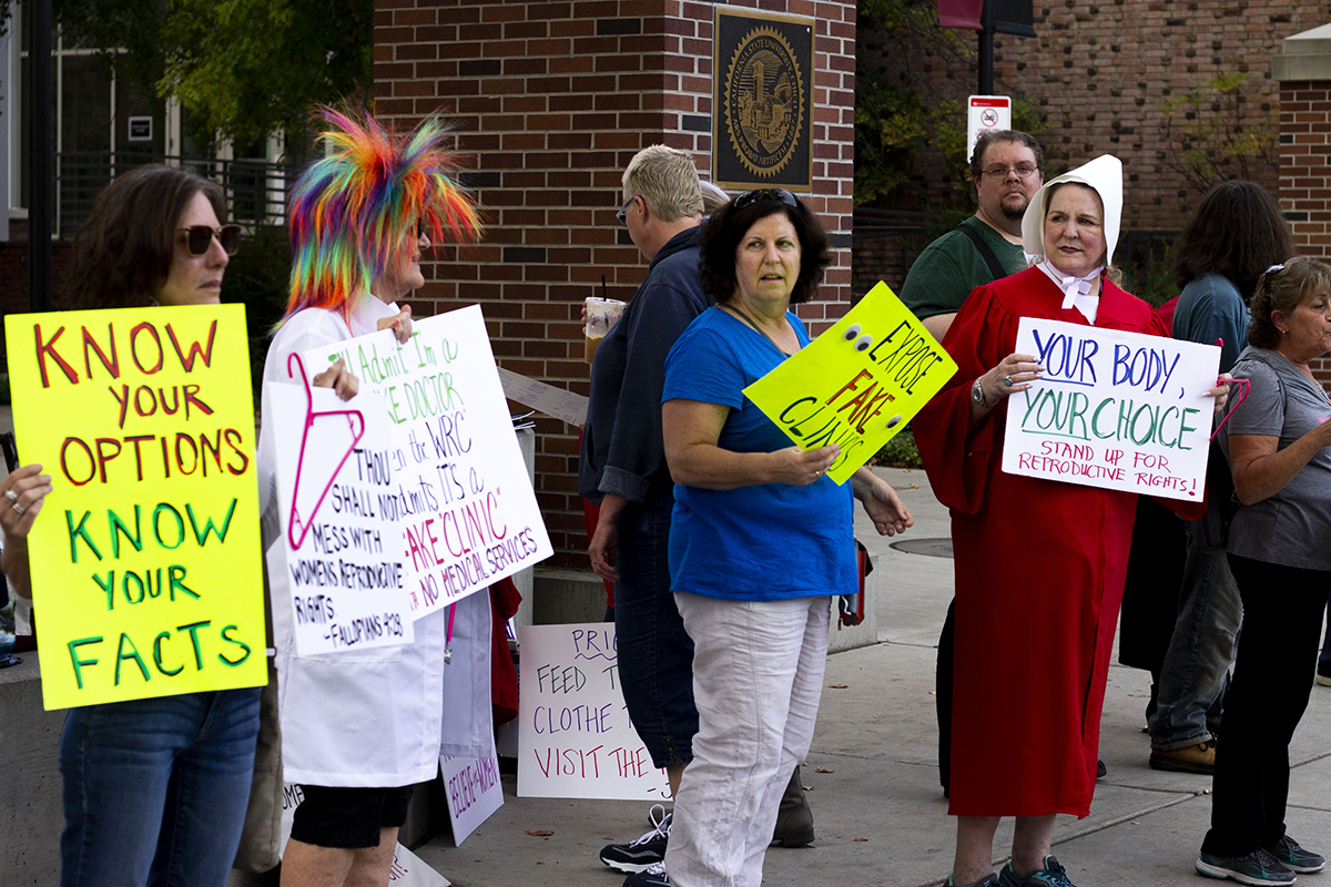 Protestors, in support of pro-choice, stand outside the Bell Memorial Union during the Women's Resource Center on Friday. Check out the article about the protest on the Orion. Photo credit: Dominique Wood