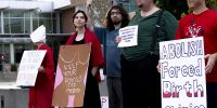 Organizers protest the Women's Resource Clinic, call for reproductive rights