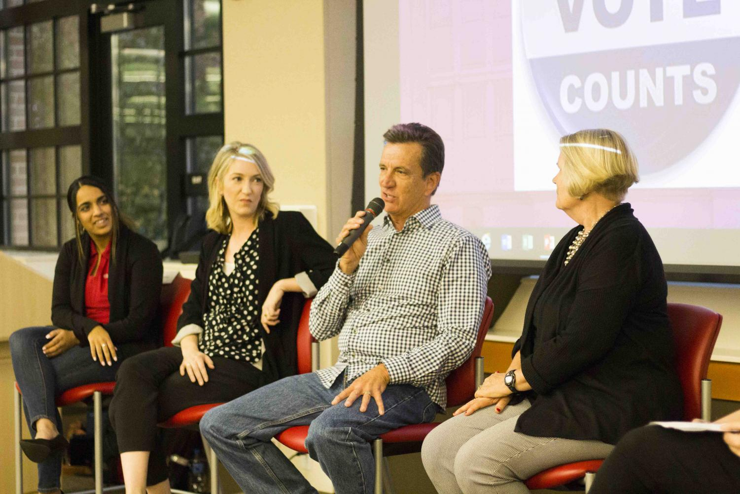 Former Mayor of Chico Dan Herbert (third from left) speaks on his civic engagement work during Wildcat Vote on Tuesday night. Others pictured are Alisa Sharma (left), Audrey Denney (middle left) and Ann Schwab (right). Photo credit: Brian Luong