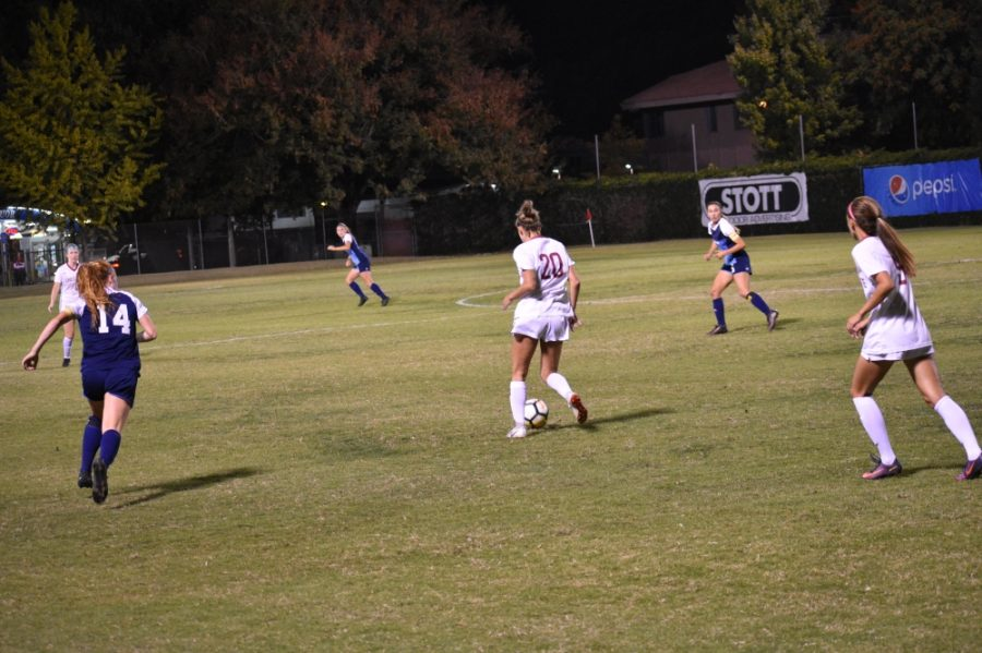 Chico State forward, Jordan Doukakis, moves the ball upfield against Sonoma State in this archived photo. Photo credit: Roy Anderson