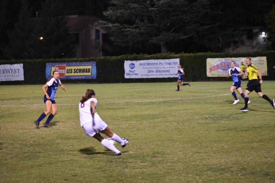 Chico+State+forward%2C+Susanna+Garcia+attempts+to+strike+the+ball+against+Sonoma+State+on+Friday.+Photo+credit%3A+Roy+Anderson