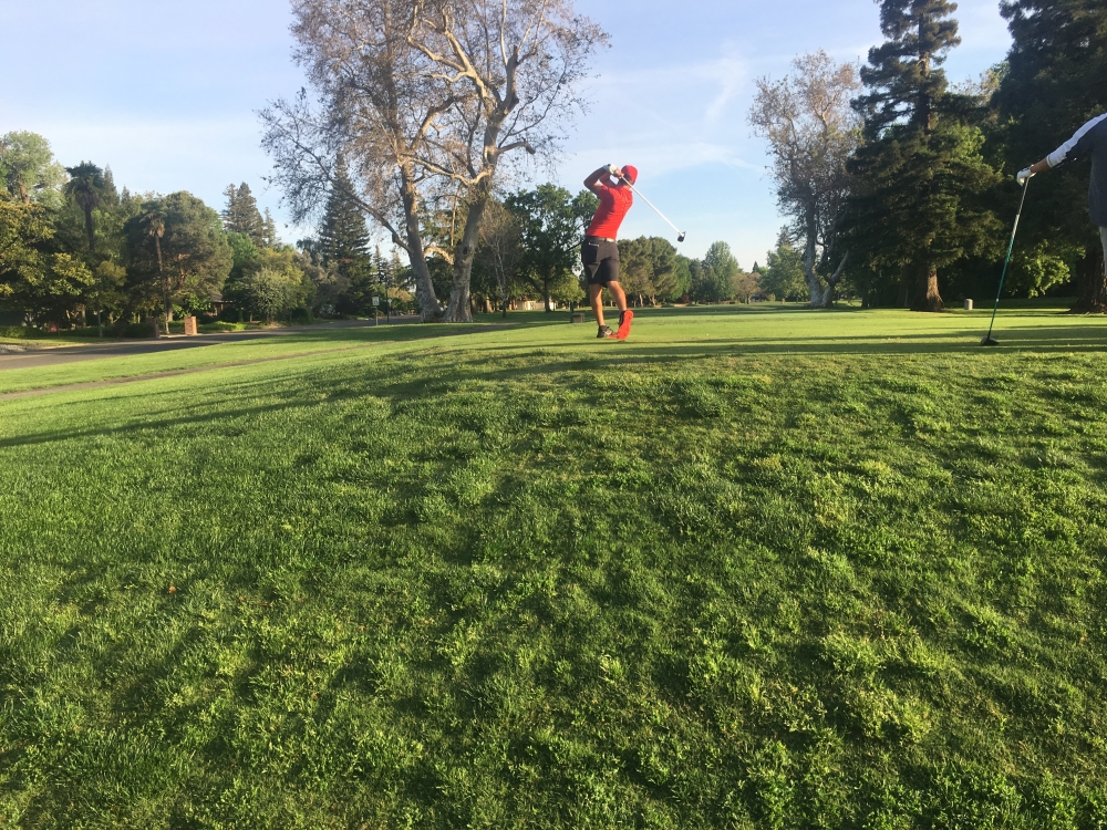 Kelley Sullivan tees off on day one of the 2018 CCAA Championships at Butte Creek Country Club in Chico in this archived photo. Photo credit: Andrew Baumgartner