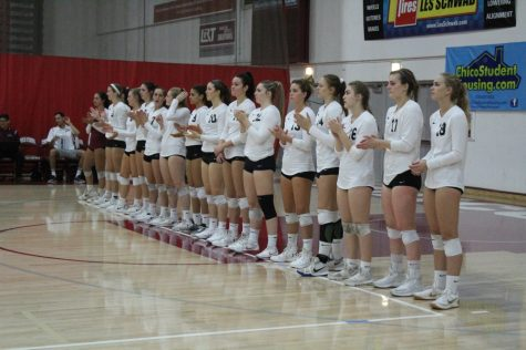 The Chico State Wildcats line up before the game against Sonoma State on Friday. Photo credit: Ricardo Tovar