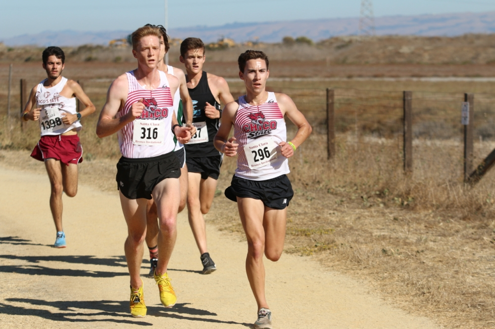Chico State's Remington Breeze and Derek Morton lead the way at the Bronco Invitational. Image courtesy of Gary W Towne.