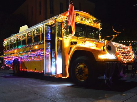 A Chico Unified School District bus proves that creativity does not stop with the light decor, but any vehicle can be used as well. Photo credit: Olyvia Simpson