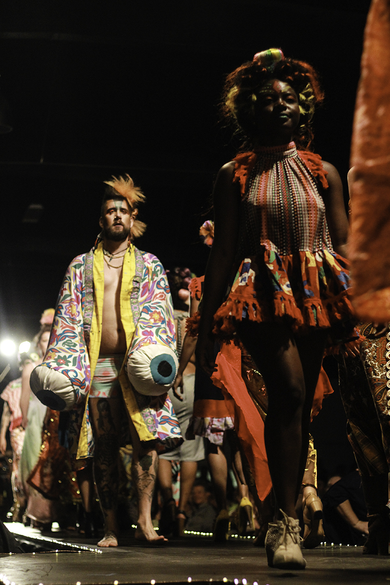 Models walking down the runway during Chikoko's Evoke-an Experimental fashion show Photo credit: Tara Killoran