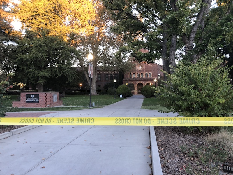 Kendall Hall was taped off and closed on Tuesday as police investigated the area where a deceased body was found. Photo credit: Natalie Hanson