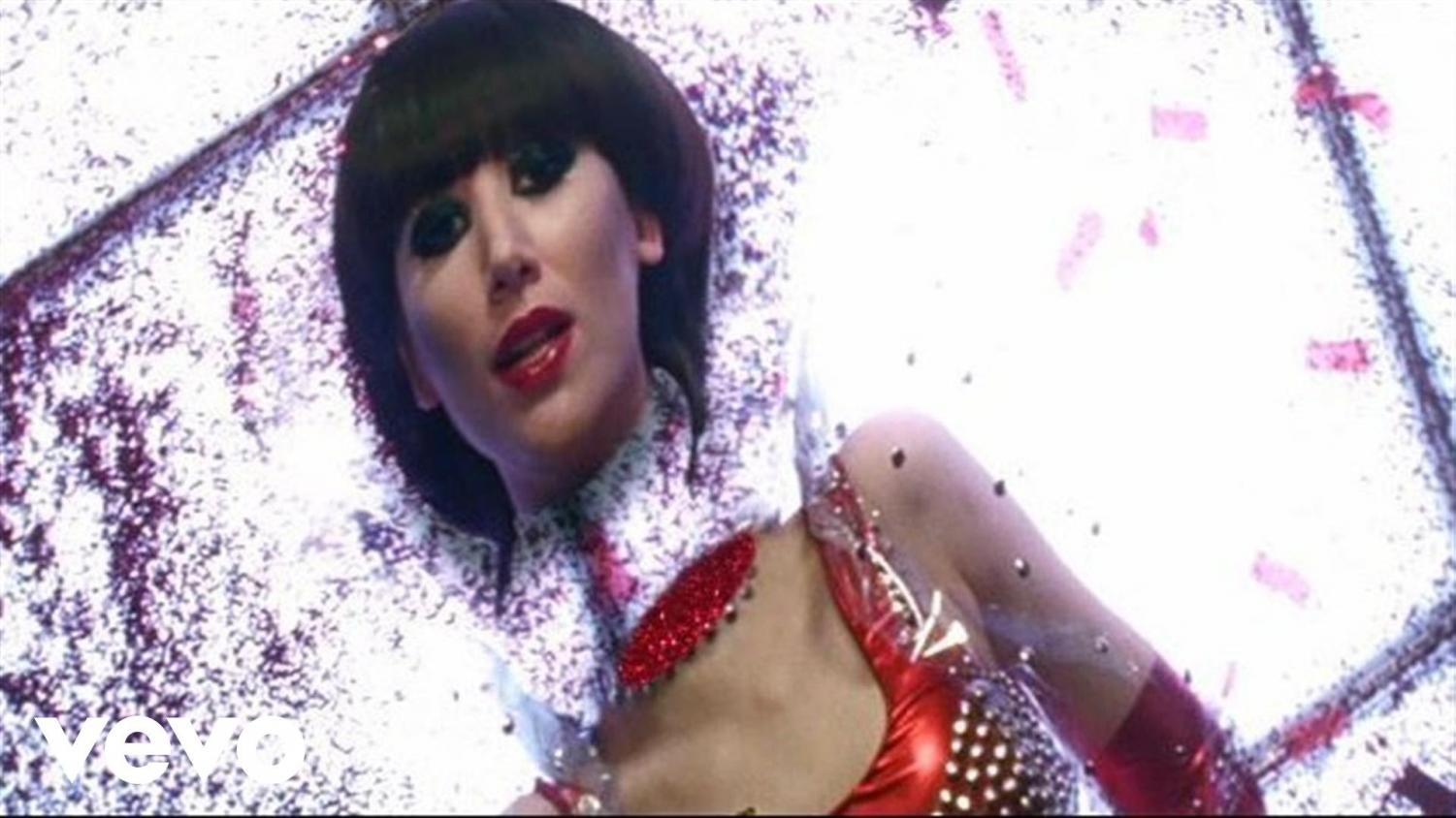 A still from the music video by Yeah Yeah Yeahs performing Heads Will Roll. Image from Polydor Ltd.