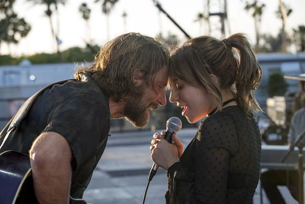 Lady Gaga (Ally)  and Bradley Cooper (Jackson Main) make music and chemistry in