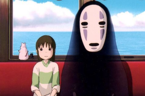 Chihiro and the spirit No-Face make a journey in