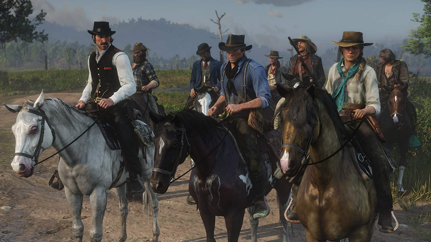 The Van Der Linde gang riding together with Dutch and Arthur leading the charge. Image from amazon.com