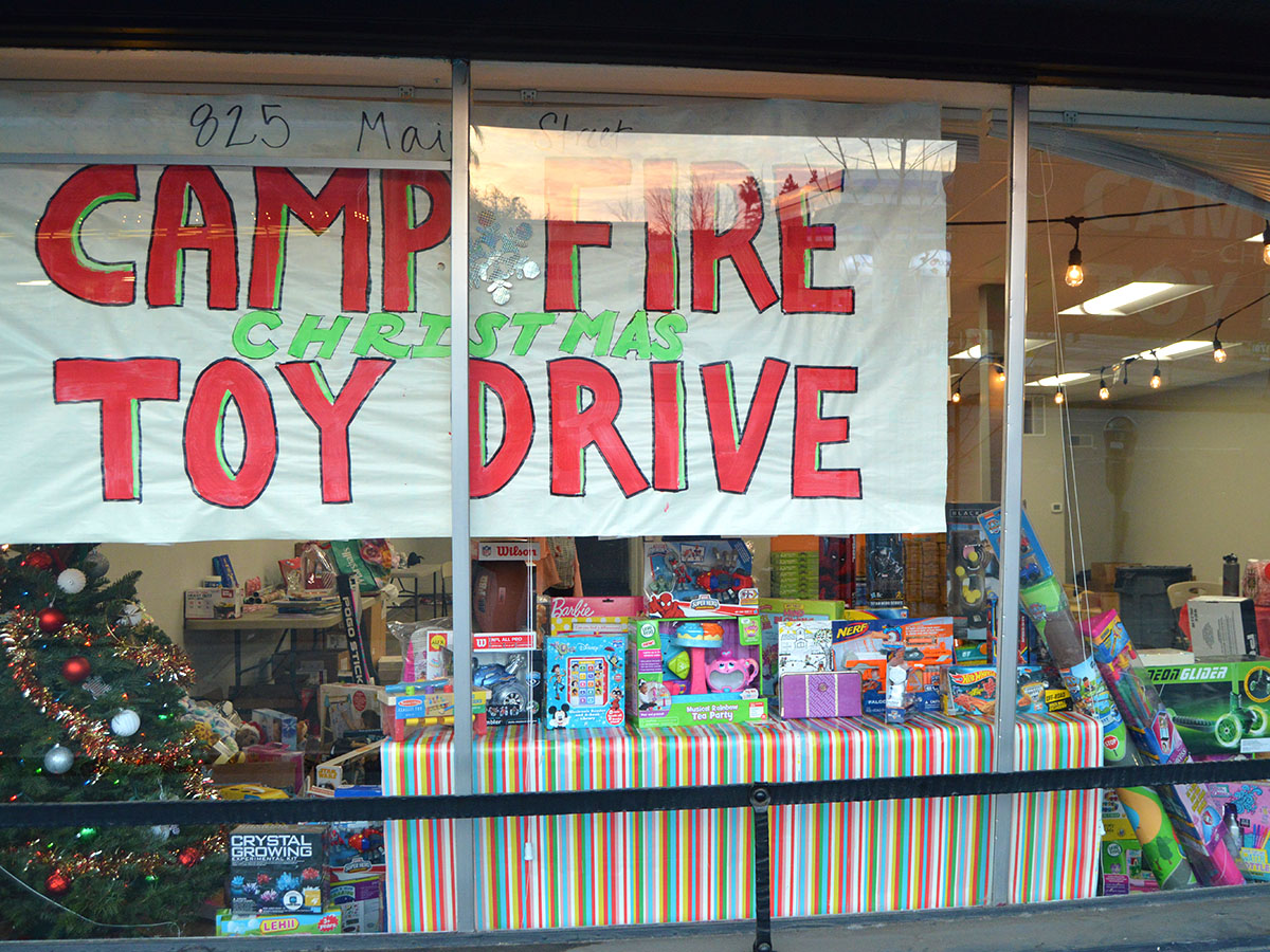 A Camp Fire Toy Drive is located on Main Street in downtown Chico. Kozette McGowan organized the event with the children affected by the Camp Fire in mind so that they can have something of comfort. The toy drive will be going on until Dec 17. Photo credit: Olyvia Simpson
