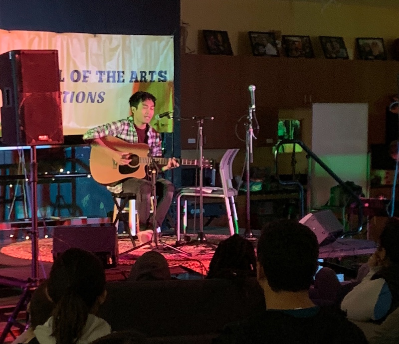 Lenon Padilla performs at the first-ever Fall Acoustics show in The Hub. Photo credit: Grant Schmieding