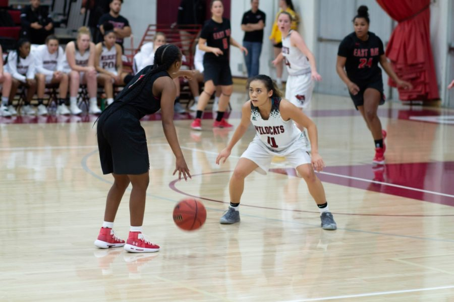 Chico State's Madison Wong stays in defensive position against Cal State East Bay on Saturday while also scoring a career high 26 points. Photo credit: Maury Montalvo