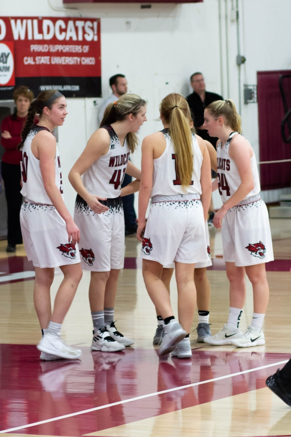 Chico State huddles up during a break in the action against Cal State East Bay in this archived photo. Photo credit: Maury Montalvo