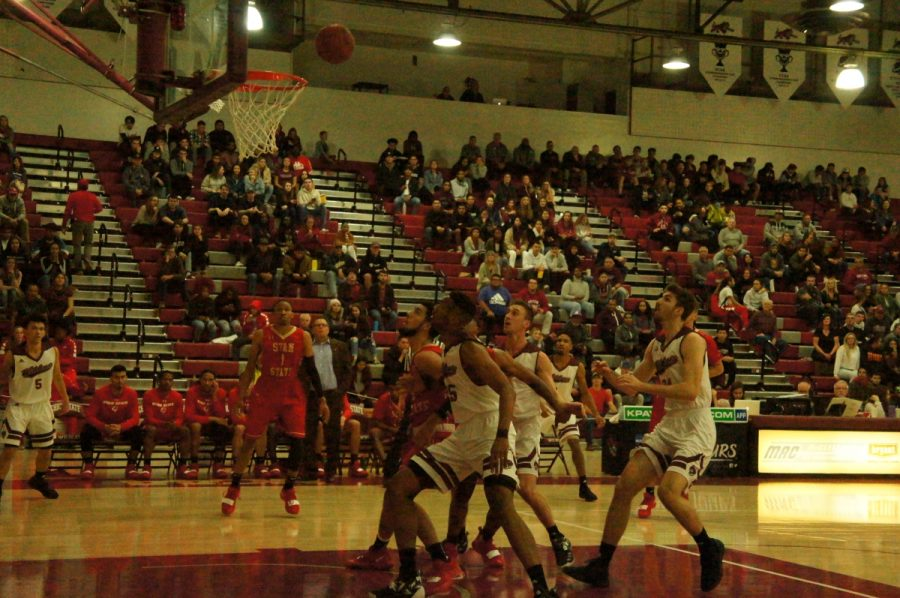 Chico State looks to rebound the ball against Stanislaus State in this archived photo. Photo credit: Keelie Lewis