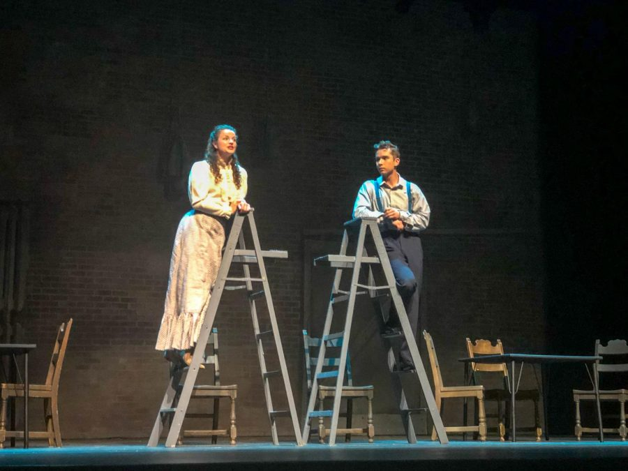 Megan Schwartz and Valdis Birznieks on top of a ladder singing to one another during the