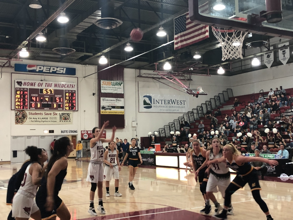 Senior Natalie Valenzuela shots the second of her free-throws against UC San Diego Photo credit: Ricardo Tovar