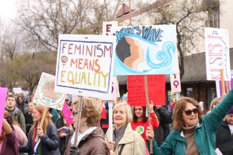 Protestors showcased their signs at the 2019 Chico Women's March. Photo credit: Christian Solis