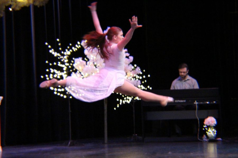 Caitlyn Reid-Gyerman with a majestic jump during Thorstein Gunter's piano solo. Photo credit: Mathew Boe