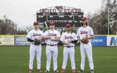 Wildcats baseball captains from left to right: Tyler Stofiel (13), Alex DeVito (34), Brandon Hernadez (32), and Grant Larson (51). Photo credit: Brian Luong