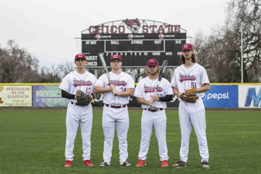 Wildcats+baseball+captains+from+left+to+right%3A+Tyler+Stofiel+%2813%29%2C+Alex+DeVito+%2834%29%2C+Brandon+Hernadez+%2832%29%2C+and+Grant+Larson+%2851%29.+Photo+credit%3A+Brian+Luong