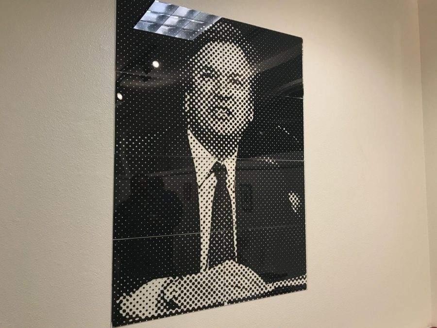 A portrait of U.S. Supreme Court Associate Justice Brett Kavanaugh during his Senate hearing regarding accusations of sexual assault. Acrylic ink printed on plexiglass. Photo credit: Angel Ortega