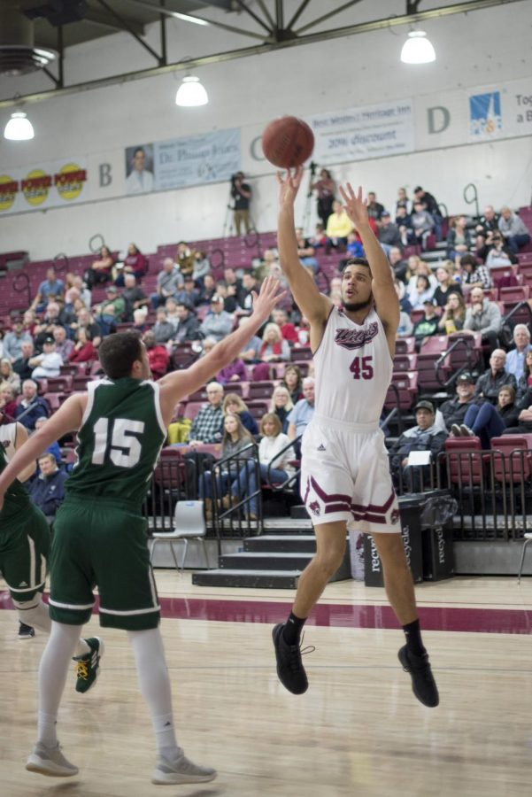 Malik Duffy shooting a three against Humboldt State at Acker Gymnasium. Image credit: Chico State Sports Information