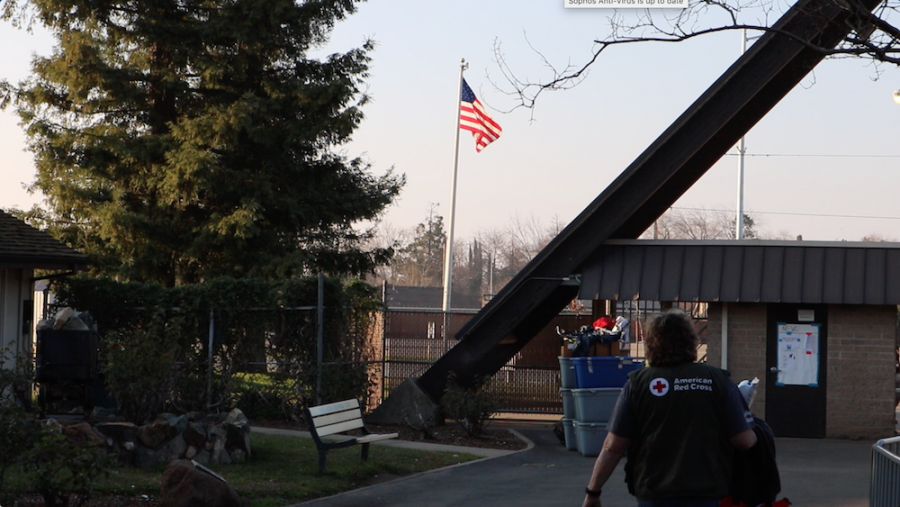 The American flag hangs over the entrance of the Silver Dollar Fairgrounds in Chico, CA on Thursday, Jan. 31, 2019. Photo credit: Christian Solis