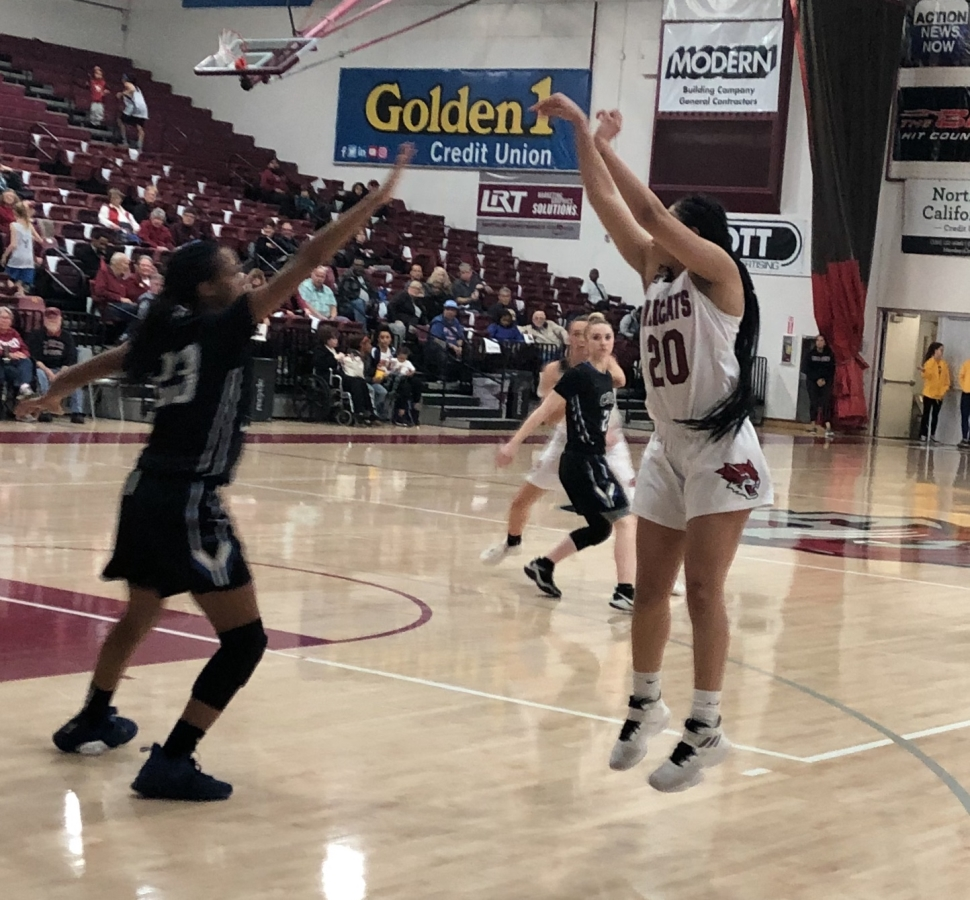 Myli Martinez shooting one of her two made threes against Cal State San Bernadino Thursday night. Photo credit: Ricardo Tovar