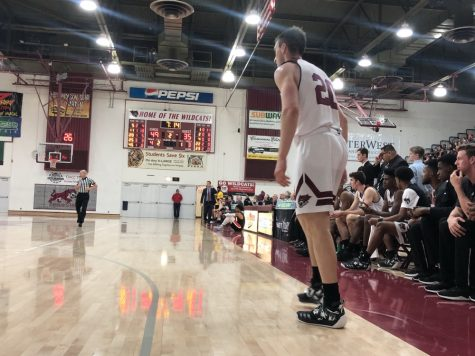 Nate Ambrosini waiting for the action to come his way against Cal State East Bay on Jan. 8, 2019. Photo credit: Maury Montalvo