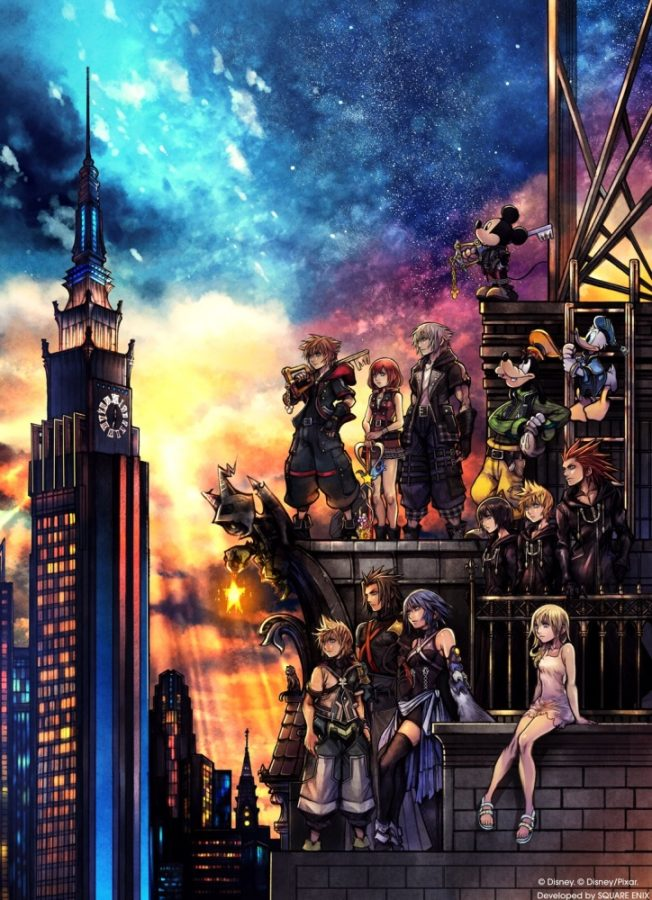 Kingdom+Hearts+3+characters+look+on+at+the+horizon.+Image+from+know+your+meme.