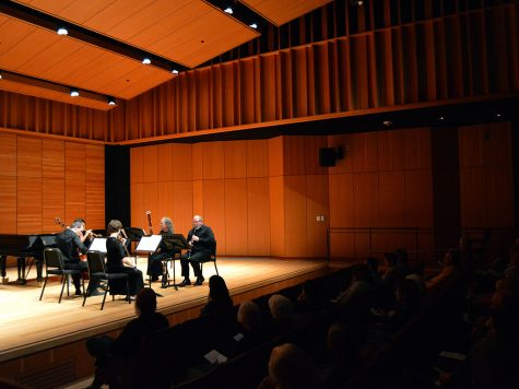 The audience enjoys a quintet Serenata in Zingg Recital Hall on Sunday afternoon, Feb. 10, 2019. The arrangement included string and horn accompaniments. Photo credit: Olyvia Simpson