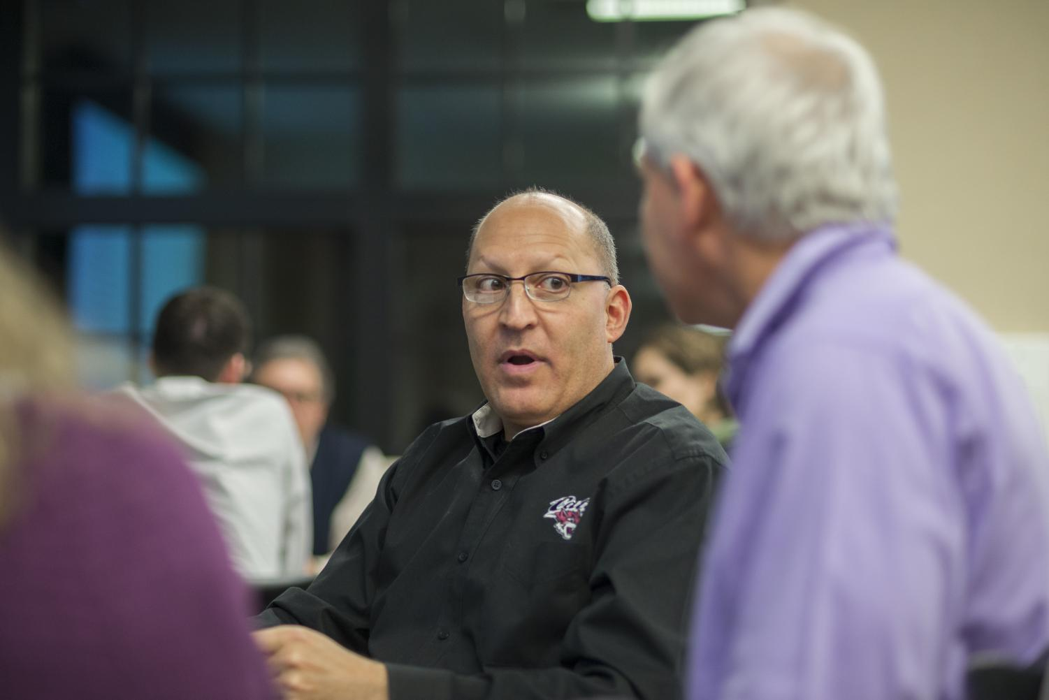 Jay Friedman works with alumni at Chico State and attended the strategic planning meeting Wednesday night. Photo courtesy Ryan Mccasland