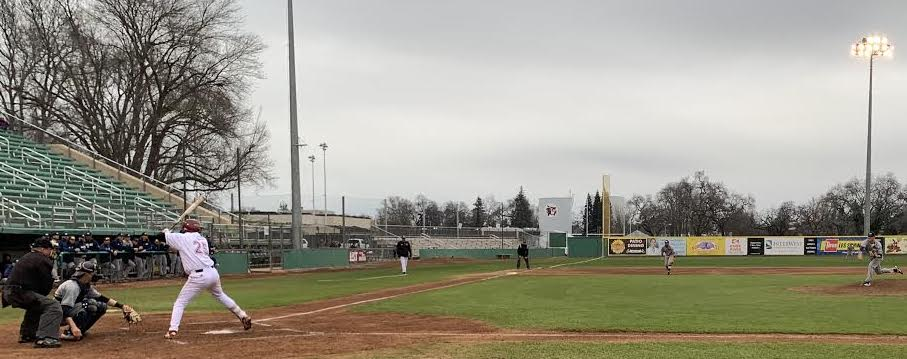 Dustin Miller batting at the top of the second inning against Cal State Monterey Bay on Friday, Mar. 1, 2019. Photo credit: Lucero Del Rayo-Nava
