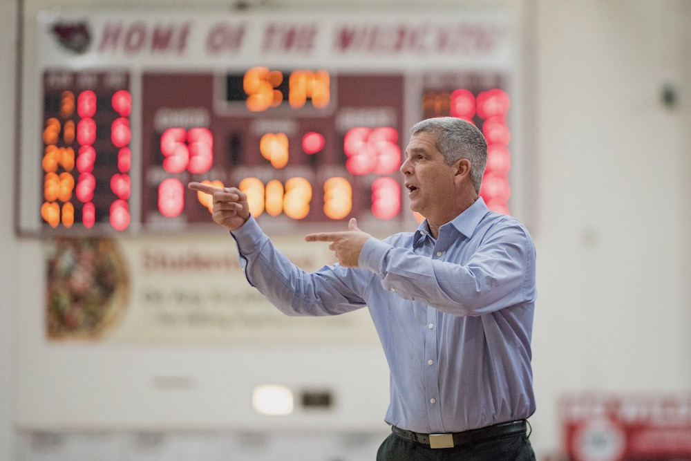 Coach Brian Fogel owns a 178–130 record as Chico State women's basketball coach and a 268-179 record in 15 years as an NCAA head coach. in Acker Gym on Tuesday, October 9, 2018. Image credit: Chico State sports information