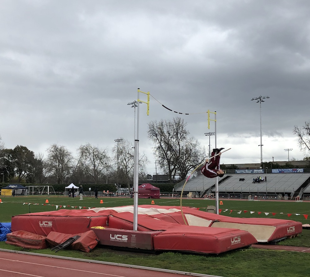 Chico State warming up and practicing the pole-vault on Saturday at the University Track Stadium. Photo credit: Matthew Ferreira