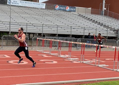 Alex Davila and Jason Adams competing in the 110 meter high hurdles on Friday, Mar. 1, 2019 in Chico Multi classic. Photo credit: Lucero Del Rayo-Nava