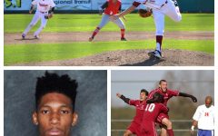 Notable Chico sports figures who attended Chico State: Grant Larson (top), Michael Bethea Jr., (left), Chris Wondolowski (right).  Illustration by: Ricardo Tovar