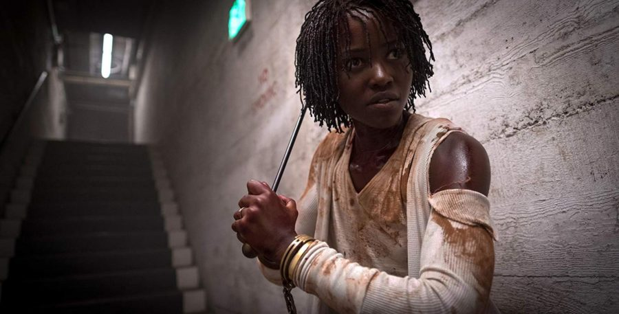 Lupita Nyong'o stars as Adelaide Wilson, a mother who's family is terrorized by their evil doppelgangers.  IMDb website photo