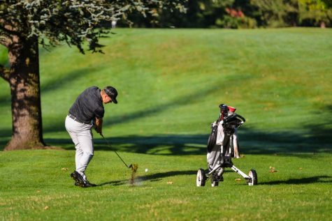Josh McCollum swings at the Western Washington Invitational. Image courtesy of Chico State Athletics