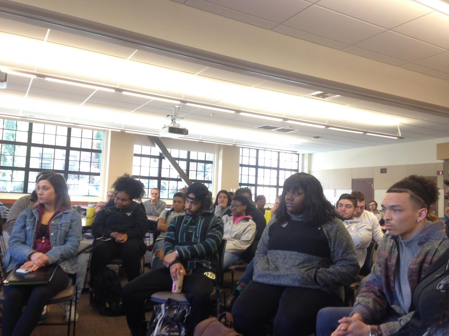 Students voiced their concerns about campus safety Friday afternoon in Colusa Hall.. Photo credit: Julian Mendoza